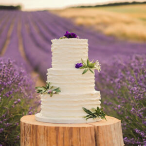 A white wedding cake on a tree stump, in front of a field of lavendar